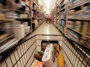 Trolley in supermarket, exact date
