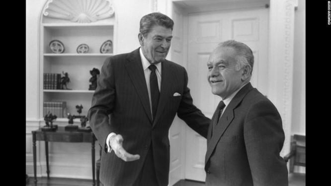 Šamir s americkým prezidentem Reaganem