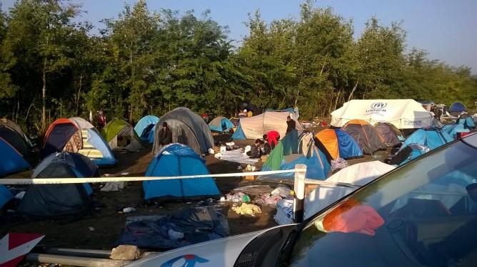 Ásotthalom camp brzy ráno
