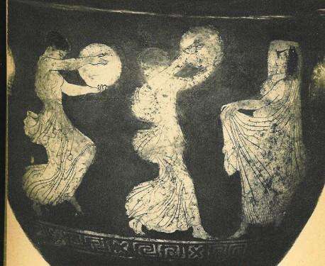 Tančící Řekyně. Červenofigurová keramika, 4.-5.stol. př. o. l.